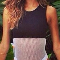 Black White Sheer Mesh Sleeveless Scoop Neck High Cut One Piece Swimsuit
