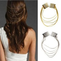 2016 Metal Tassel Chain Headband Women Hair Accessories Clip Hair Comb Bridal Punk Ladies Leaf Headwear accesorios para el pelo