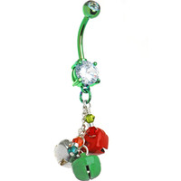 Handcrafted Holiday Jingle Bells Belly Ring   Body Candy Body Jewelry