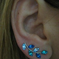 Ear Sweep Wrap Earring - with Swarovsky - Unique- The Blue Nr2