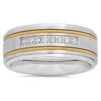Stainless Steel .15 cttw Diamond and Yellow Milgrain Single Row Men's Wedding Band