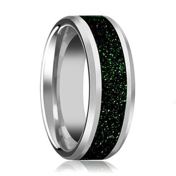 Men's Silver Tungsten Wedding Band with Green Goldstone Inlay and Beveled Edges - 8MM