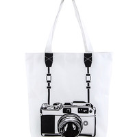 Camera Graphic Canvas Tote