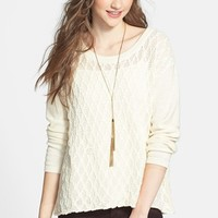 Frenchi® Pattern Knit Cotton Pullover (Juniors)   Nordstrom