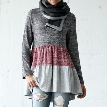 Baby Doll Color Block Top - Charcoal