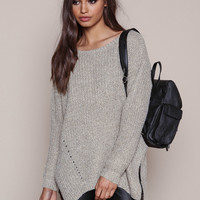 TAUPE CHUNKY KNIT SIDE SLIT SWEATER