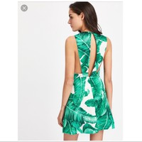 Palm Print Backless Dress