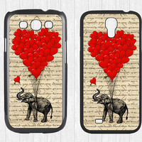 Elephant and heart shaped balloons Galaxy S3 S4 Case,Elephant and heart Galaxy S3 S4 Hard Case,cover skin Case for Galaxy S3 S4,More styles