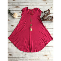 Hot Pink short sleeved flare dress