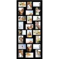 Adeco Black Wood 24 Openings Hanging Picture Frame, 4 x 6-Inch, Black