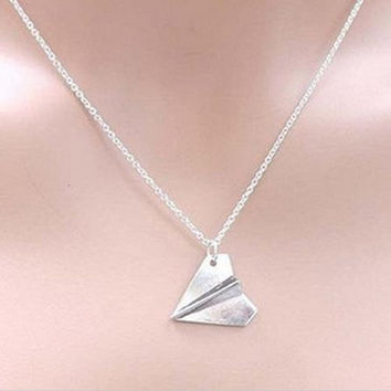 S Men Women One Direction B  Harry Styles Gold Paper Airplane Pendant Necklace Jewelry Chain Collares Choker Necklaces SM6
