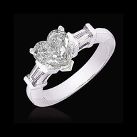 Heart cut diamond 2.51 carat ring three stone jewelry