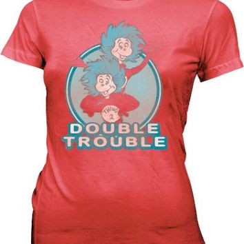 Dr. Seuss Double Trouble Thing 1 & 2 Dusty Red Juniors T-shirt
