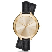 Slim Runway Gold-Tone and Leather Wrap Watch | Michael Kors