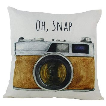 Oh Snap   Photographer Gift   Pillow Cover   Photography Gifts   Vintage Camera Lens   Home Décor   Throw Pillow   Unique Friend Gift