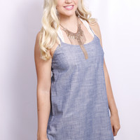 Chambray Fringe Dress