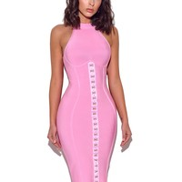 There For You Sweet Pink Halter Bandage Dress