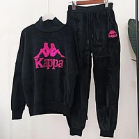 Kappa Winter New Trending Women Stylish Embroidery Top Sweater Pants Trousers Set Two-piece Sportswear Black