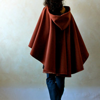 Wool cape, Hooded cape, Womens cape, Winter cape, Hooded cloak, Wool cloak, Red winter cloak, Women clothing, Maternity clothes, plus size