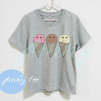 Ice cream shirt kids tee Short sleeve tee shirts+off white or grey toddlers shirt +kids girl boy clothes