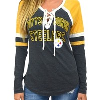 Pittsburgh Steelers Womens Laceup Long Sleeve Top | SportyThreads.com