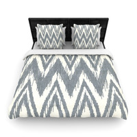 "Heidi Jennings ""Tribal Chevron Gray"" Queen Woven Duvet Cover - Outlet Item"