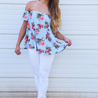 Heat Of The Floral Off The Shoulder Blouse