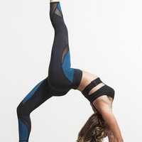 Michi Hydra Crop Legging - Lagoon Blue | Luxury Athletic Wear