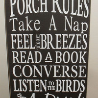 Porch Rules Typography Sign Subway Art Wooden Sign 12 x 24 You Pick Colors