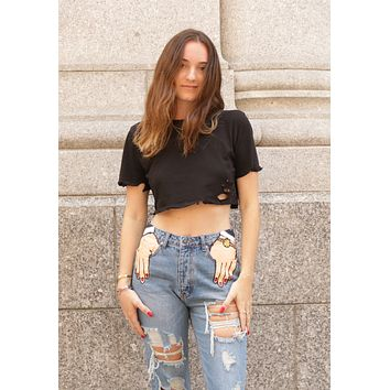 Destroyed Crop Top - Black