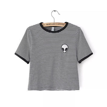 Summer Style Alien Printed Black & White Stripes Women's Fashion Short Sleeve Lady Harajuku Style Hipster Tee Top T Shirt