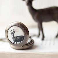 Deer Pocket Watch necklace - Holiday jewelry (PW014)