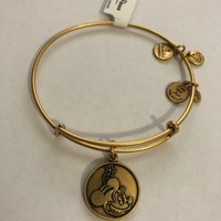 Disney Alex and Ani Parks Minnie Mouse Charm Bangle Bracelet Gold New With Tags