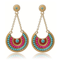 2016 Ethnic Jewelry Bohemia Multicolor Resin Beads  Long  Pendant Vintage Statement Dangle  Earrings For Women Lady Gifts