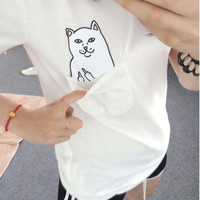 Hidden Middle Finger in Pocket Cat Appliques Red Round Necked Shirt T-shirt Top  _ 3919