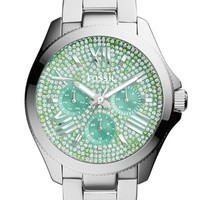 Women's Fossil 'Cecile' Pave Dial Multifunction Bracelet Watch, 40mm - Silver/ Green