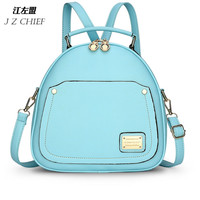 2016 New Candy Color Spring Small Backpack Women  Preppy Style Girls School Backpack  Fashion Light Blue Pink  Girls Bag