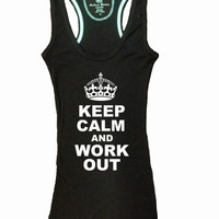 Keep Calm and Work Out Crown Gym Tank Top Racerback Workout Custom Colors You Choose Size & Colors