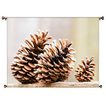 Autumn Pine Cones Picture on Canvas Hung on Copper Rod, Ready to Hang, Wall Art Décor