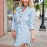Off To The Party Dress, Light Chambray