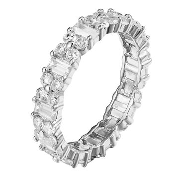 Eternity Solitaire Ring Round Baguette Cut Sterling Silver Wedding Band Bridal
