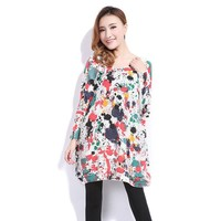 ZLYC Refreshing Scoop Neck Printing Plus Size Casual Sweater For Women