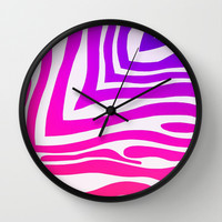 Colorful Zebra Print Wall Clock by KCavender Designs