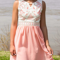 She's Timeless Embroidered High Low Chiffon Key Hole Open Back Sleeveless Blush Dress