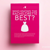 Bachelorette Party Game - Who Knows the Bachelorette Best? Bachelorette Game - INSTANT DOWNLOAD