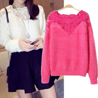 Long Sleeve Lace Mohair Knitted Sweater