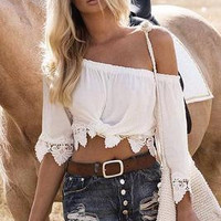 Women's Trending Popular Fashion Hollow Bandage Lace Sexy Boat Neckline Erotic Casual Party Playsuit Clubwear Bodycon Boho Top Shirt T-Shirt _ 8875