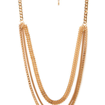 FOREVER 21 Heavy Metal Layered Chain Necklace Gold One