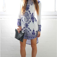 White And Blue Porcelain Print Long-Sleeve Asymmetrical Dress