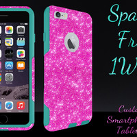 """OtterBox Commuter Series Case for 4.7"""" iPhone 6 - Custom Glitter Case for 4.7"""" iPhone 6 - Hot Pink/Teal"""